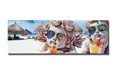 Engeltjes Strand - Canvas Schilderij Panorama 120 x 40 cm