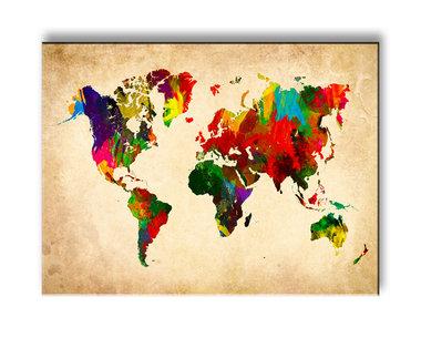 Wereldkaart Gekleurd - Canvas Schilderij 40 x 30 cm