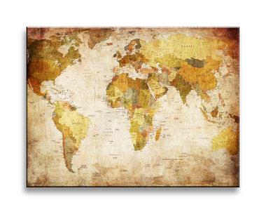 Wereldkaart - Canvas Schilderij 40 x 30 cm