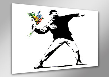 Banksy Bloemen - Canvas Schilderij 80 x 60 cm