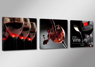 Wijn - Canvas Schilderij Drieluik 150 x 50 cm
