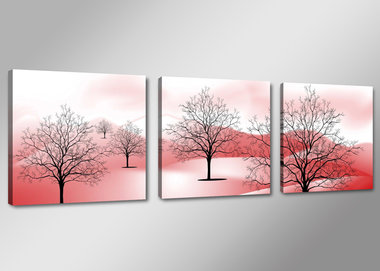 Rood Bos - Canvas Schilderij Drieluik 150 x 50 cm