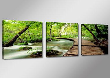 Natuur Beek - Canvas Schilderij Drieluik 150 x 50 cm