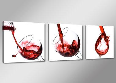 Wijnglazen - Canvas Schilderij Drieluik 150 x 50 cm