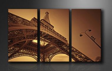Eiffeltoren - Canvas Schilderij Drieluik 160 x 90 cm