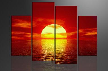 Ondergaande Zon - Canvas Schilderij Vierluik 130 x 80 cm