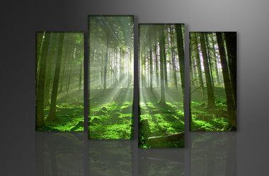 Bomen - Canvas Schilderij Vierluik 130 x 80 cm