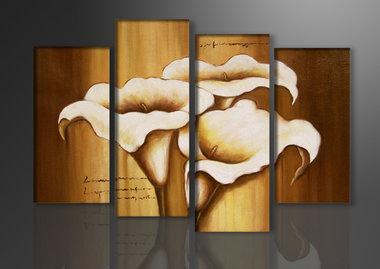 Bloemen - Canvas Schilderij Vierluik 130 x 80 cm