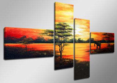 Afrika - Canvas Schilderij Vierluik 160 x 70 cm