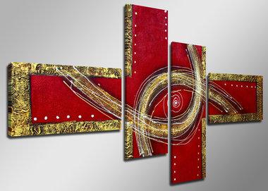 Abstract 'Elke' - Canvas Schilderij Vierluik 160 x 70 cm