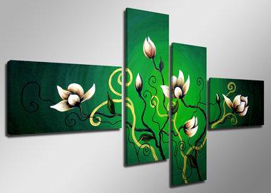 Bloemen - Canvas Schilderij Vierluik 160 x 70 cm