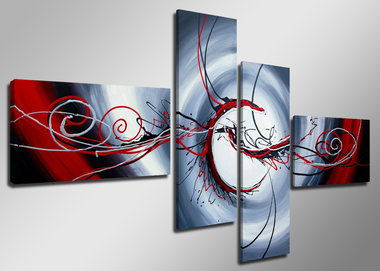 Abstract 'Wibo' - Canvas Schilderij Vierluik 160 x 70 cm