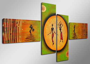 Dansende Dames - Canvas Schilderij Vierluik 160 x 70 cm