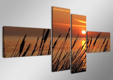 Zonsondergang - Canvas Schilderij Vierluik 160 x 70 cm