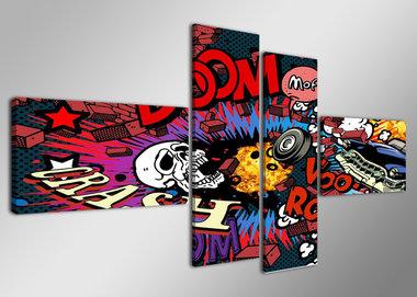 Strip - Canvas Schilderij Vierluik 160 x 70 cm