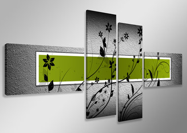 Groen - Canvas Schilderij Vierluik 160 x 70 cm