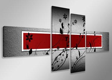 Rood - Canvas Schilderij Vierluik 160 x 70 cm