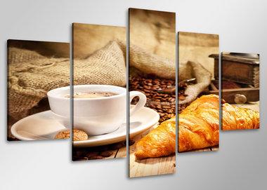Koffie - Canvas Schilderij Vijfluik 100 x 50 cm