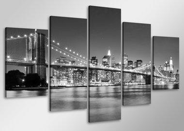 New York - Canvas Schilderij Vijfluik 100 x 50 cm