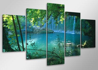 Waterval - Canvas Schilderij Vijfluik 100 x 50 cm
