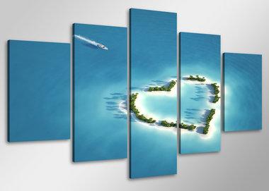 Oceaan - Canvas Schilderij Vijfluik 100 x 50 cm