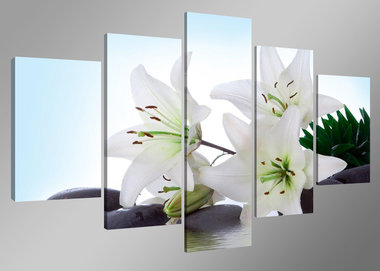 Bloemen - Canvas Schilderij Vijfluik 160 x 80 cm