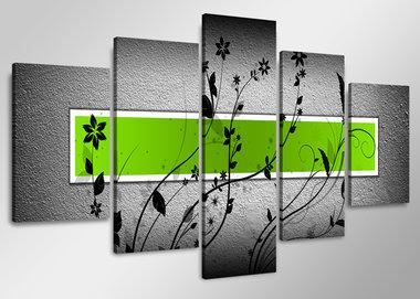 Groen - Canvas Schilderij Vijfluik 160 x 80 cm