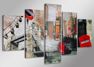 Londen - Canvas Schilderij Vijfluik 160 x 80 cm