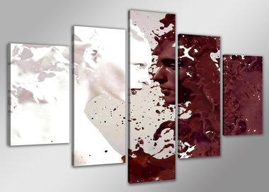 Abstract 'Sylvia' - Canvas Schilderij Vijfluik 160 x 80 cm