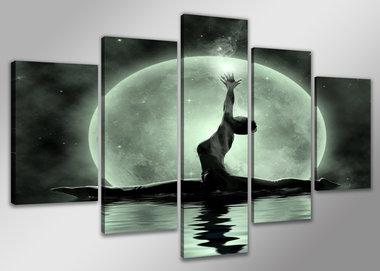 Maan - Canvas Schilderij Vijfluik 160 x 80 cm