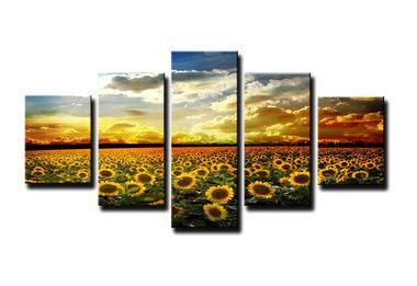 Zonnebloemen - Canvas Schilderij Vijfluik 160 x 80 cm
