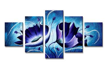 Blauwe Bloemen - Canvas Schilderij Vijfluik 160 x 80 cm