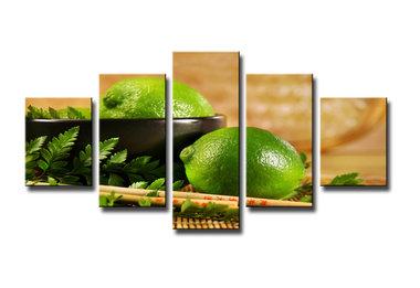 Citrus - Canvas Schilderij Vijfluik 160 x 80 cm