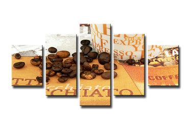 Koffie - Canvas Schilderij Vijfluik 160 x 80 cm