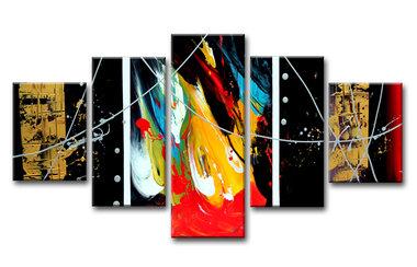 Abstract 'Yara' - Canvas Schilderij Vijfluik 160 x 80 cm