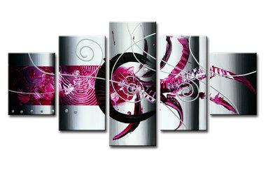 Abstract 'Mack' - Canvas Schilderij Vijfluik 160 x 80 cm