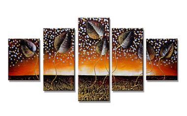 Abstract 'Dennis' - Canvas Schilderij Vijfluik 160 x 80 cm