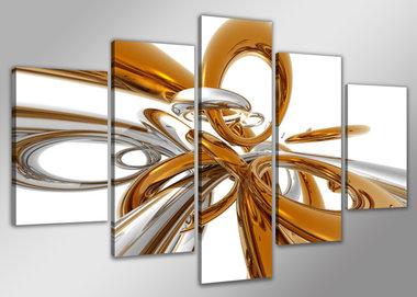 Abstract 'Ingeborg' - Canvas Schilderij Vijfluik 200 x 100 cm