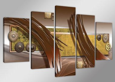 Abstract 'Ron' - Canvas Schilderij Vijfluik 200 x 100 cm