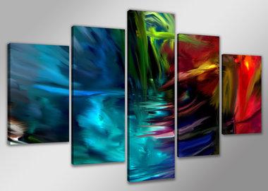 Abstract 'Carl' - Canvas Schilderij Vijfluik 200 x 100 cm
