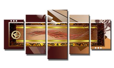 Abstract 'Jeroen' - Canvas Schilderij Vijfluik 200 x 100 cm