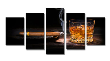 Sigaar en whiskey - Canvas Schilderij Vijfluik 200 x 100 cm