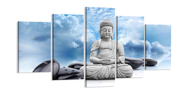 Buddha - Canvas Schilderij Vijfluik 200 x 100 cm