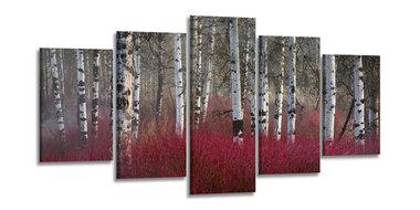 Berkenbos Rood - Canvas Schilderij Vijfluik 200 x 100 cm