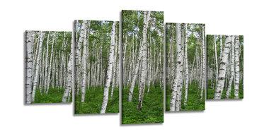 Berkenbos Groen - Canvas Schilderij Vijfluik 200 x 100 cm