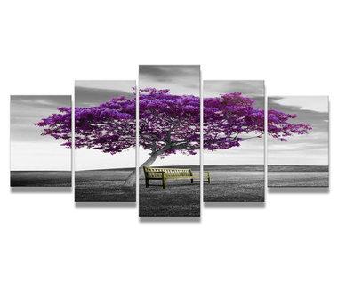 Paarse Boom - Canvas Schilderij Vijfluik 200 x 100 cm