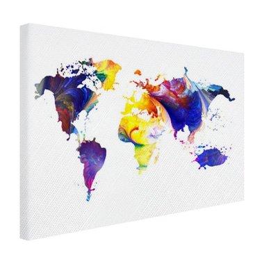 Wereldkaart met felle kleuren - Canvas