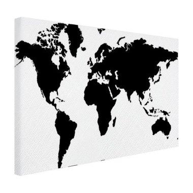 Wereldkaart zwart-wit - Canvas