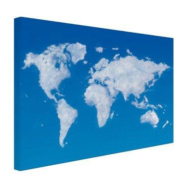 Wereldkaart wolken - Canvas