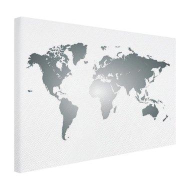 Wereldkaart zilver - Canvas